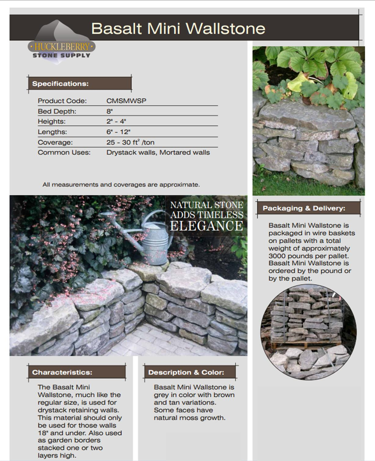Huckleberry Mini Wallstone spec sheet