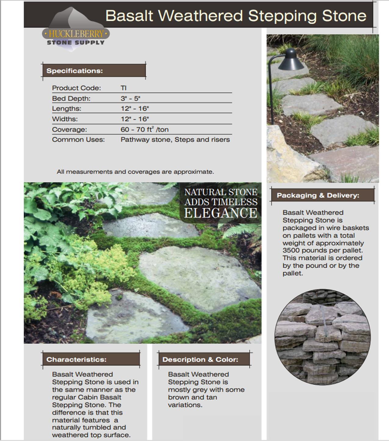 Huckleberry Weathered stone spec sheet