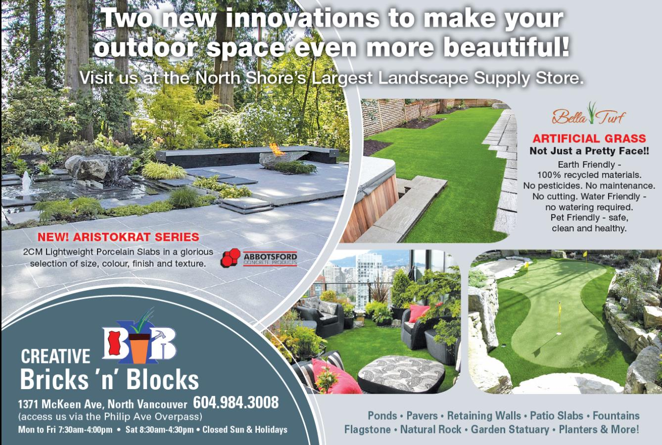 North Shore News ad aristokrat and Bella Turf